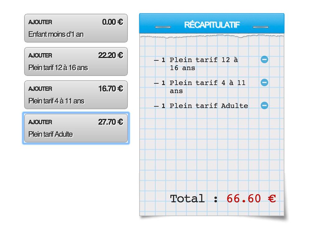 Copie d'écran : sélection des tarifs